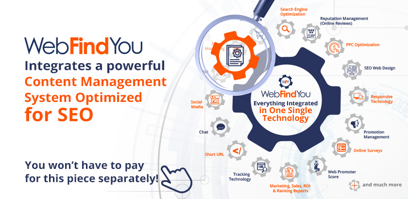 WebFindYou Integrates a Powerful CMS into our 20+ Digital Marketing Tools