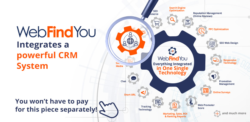 WebFindYou Integrates a Powerful CRM into our 20+ Digital Marketing Tools