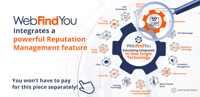 WebFindYou Integrates a Powerful Online Reviews and Reputation Management into our 20+ Digital Tools