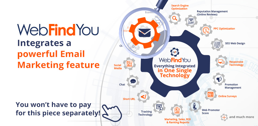 WebFindYou Integrates a Powerful Email Marketing into our 20+ Digital Marketing Tools