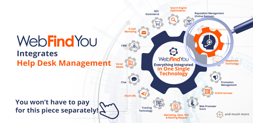WebFindYou Integrates a Powerful Help Desk into our 20+ Digital Marketing Tools