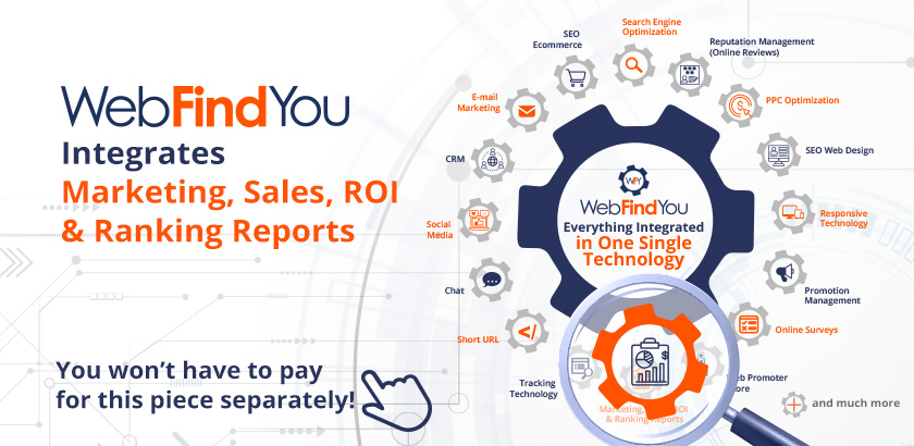 WebFindYou Integrates a Powerful Marketing, Sales, ROI and Ranking Reports into our 20+ Digital Tools