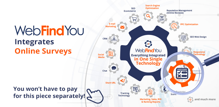 WebFindYou Integrates a Powerful OnLine Surveys into our 20+ Digital Marketing Tools