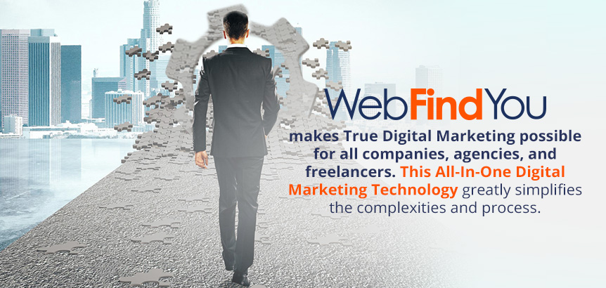Man Walking on Digital Marketing Road Showing How WebFindYou Puts the Pieces Together to Simplify the Entire Process